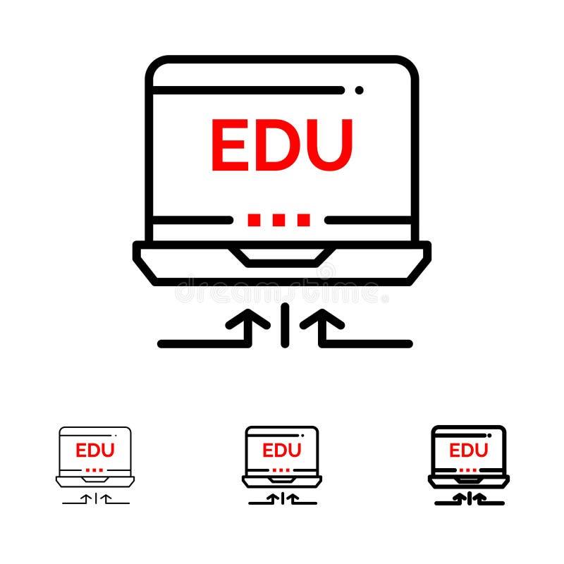 Línea negra intrépida y fina sistema del ordenador portátil, del hardware, de la flecha, de la educación del icono libre illustration