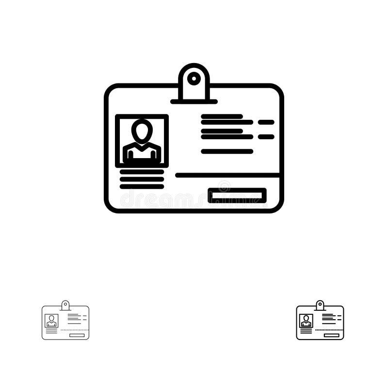 Línea negra intrépida y fina sistema del paso, de la tarjeta, de la identidad, de la identificación del icono libre illustration