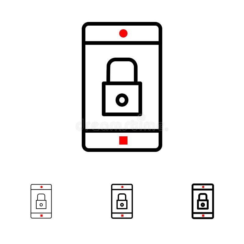 Línea negra intrépida y fina sistema del uso, de la cerradura, del uso de la cerradura, del móvil, de la aplicación móvil del ico ilustración del vector