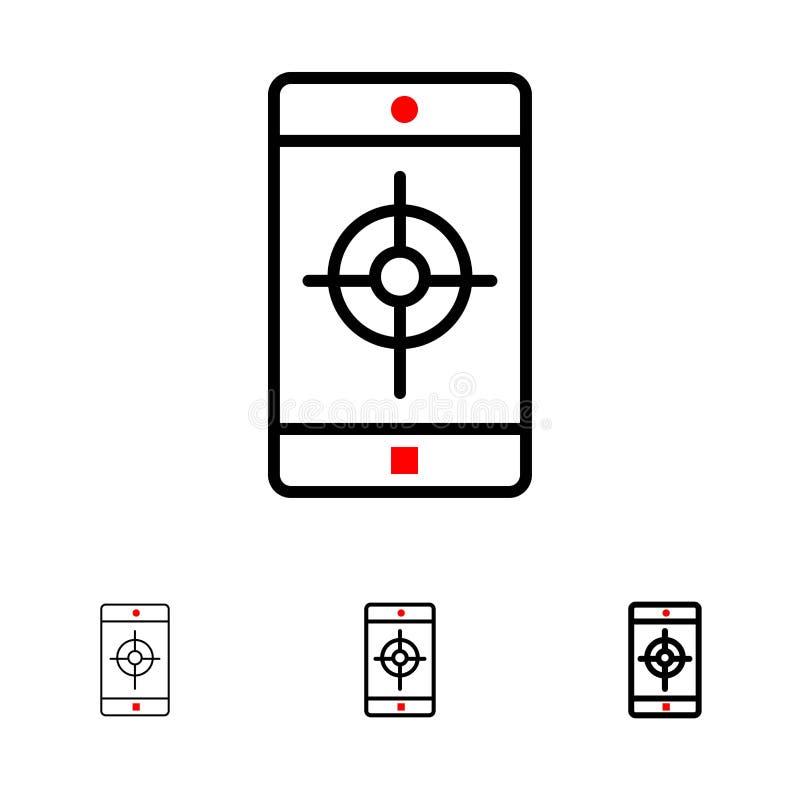 Línea negra intrépida y fina sistema del uso, del móvil, de la aplicación móvil, de la blanco del icono libre illustration