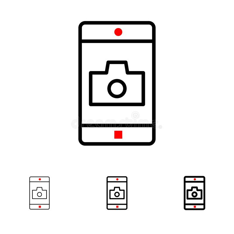 Línea negra intrépida y fina sistema del uso, del móvil, de la aplicación móvil, de la cámara del icono ilustración del vector