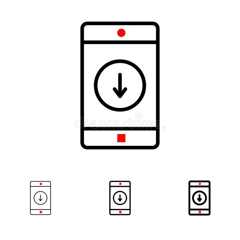 Línea negra intrépida y fina sistema del uso, del móvil, de la aplicación móvil, del plumón, de la flecha del icono stock de ilustración