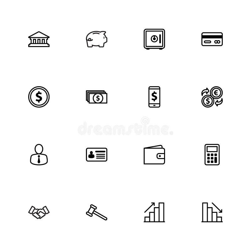 Línea negra negocio comercial y sistema del icono de las finanzas ilustración del vector