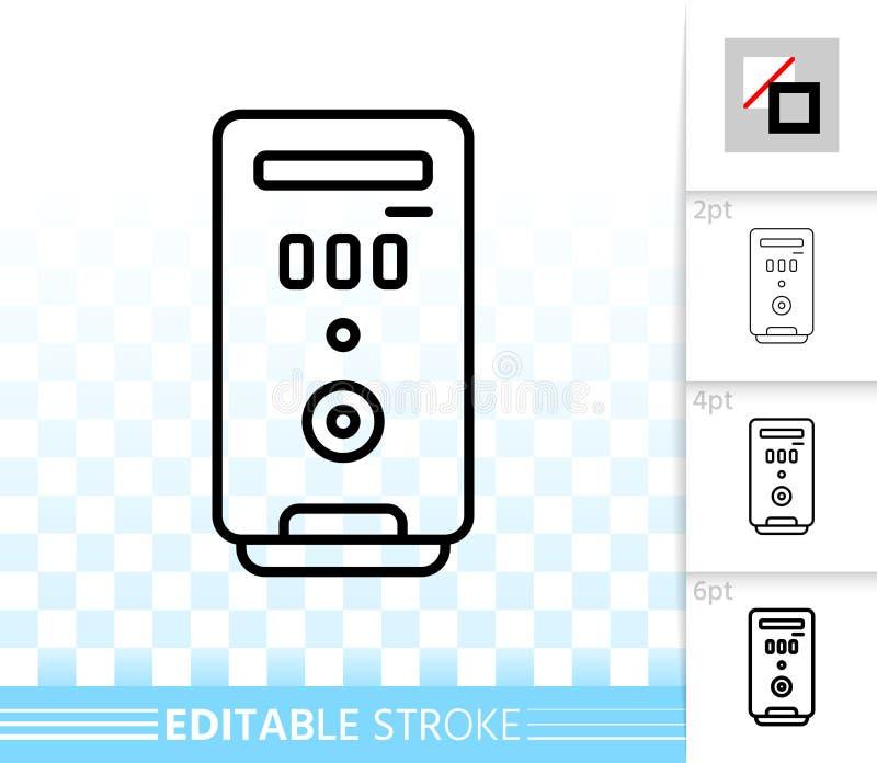 Línea negra simple icono de la caja del ordenador del vector stock de ilustración