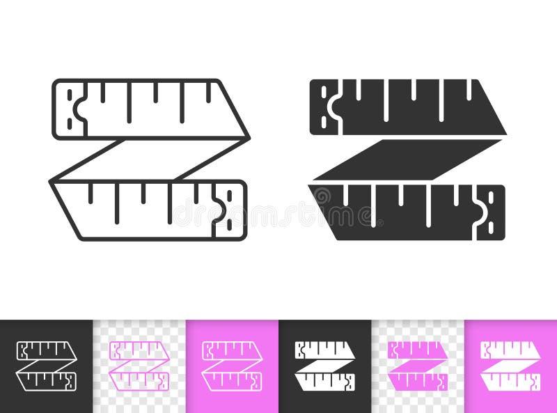 Línea negra simple icono de la cinta métrica del vector ilustración del vector