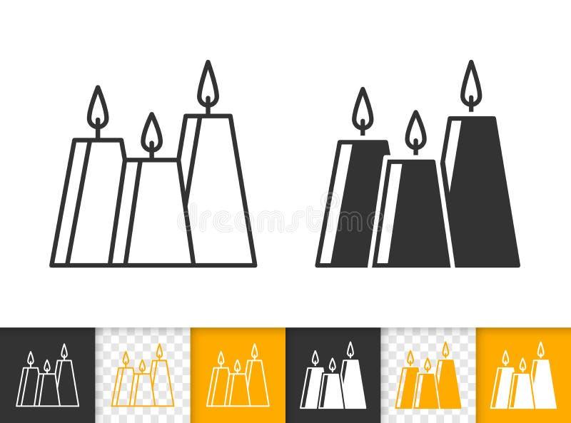 Línea negra simple icono de la llama de vela del vector del fuego libre illustration