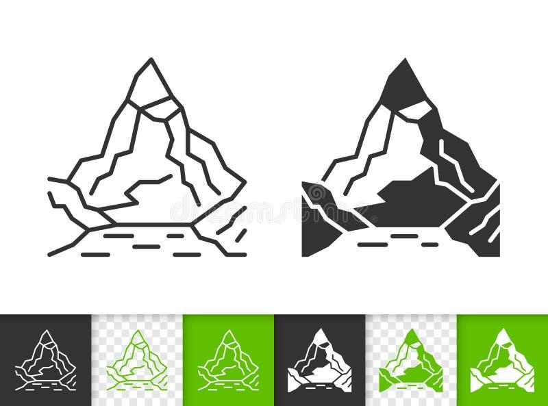 Línea negra simple icono de la montaña del vector que sube stock de ilustración
