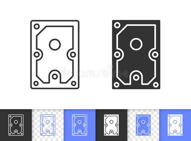Línea negra simple icono del disco duro del vector libre illustration