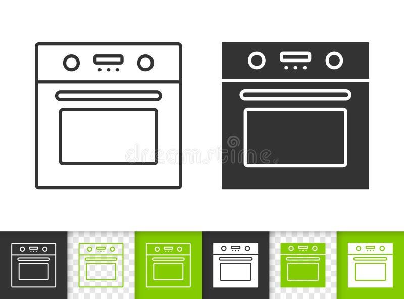 Línea negra simple icono del horno del vector stock de ilustración