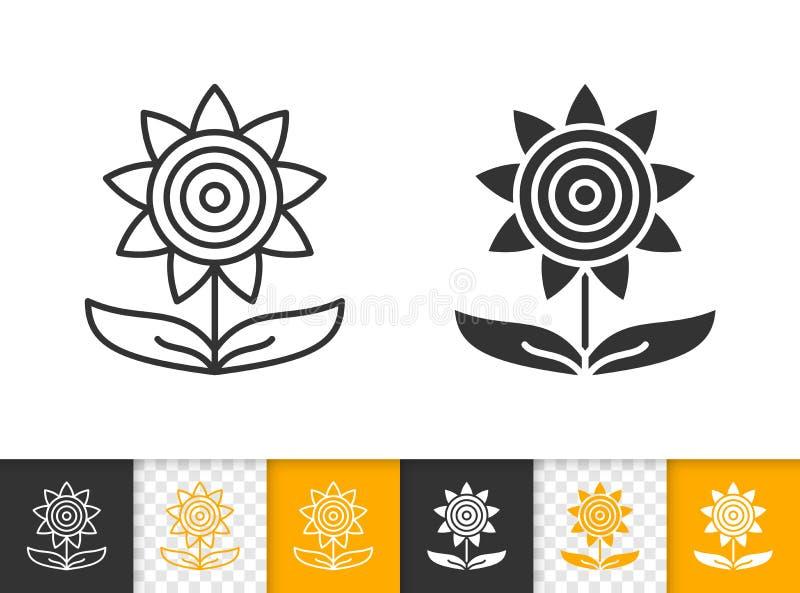Línea negra simple icono del otoño del girasol del vector libre illustration