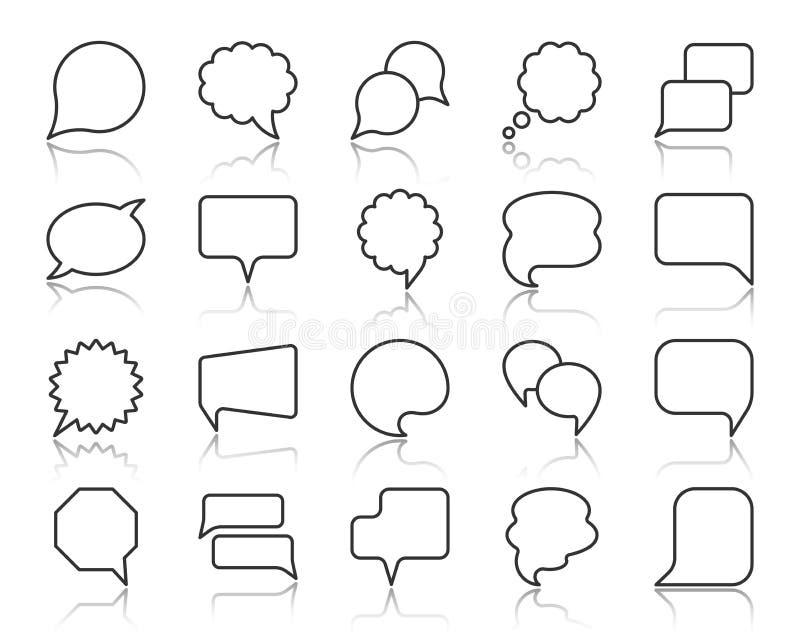 Línea negra simple sistema de la burbuja del discurso del vector de los iconos stock de ilustración