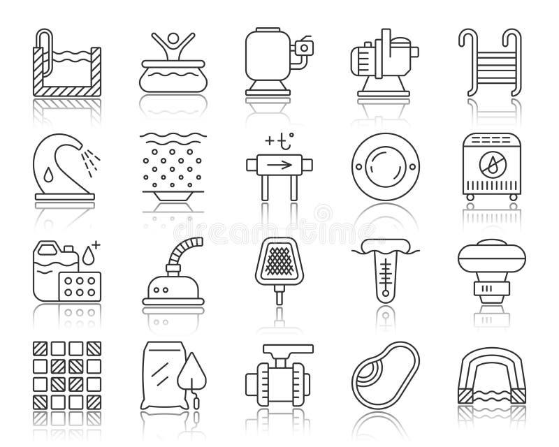 Línea negra simple sistema del equipo de la piscina del vector de los iconos libre illustration