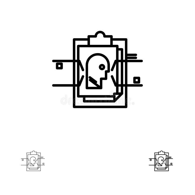 Línea negra sistema del informe, de la tarjeta, del fichero, de la identificación del usuario, intrépida y fina del icono stock de ilustración