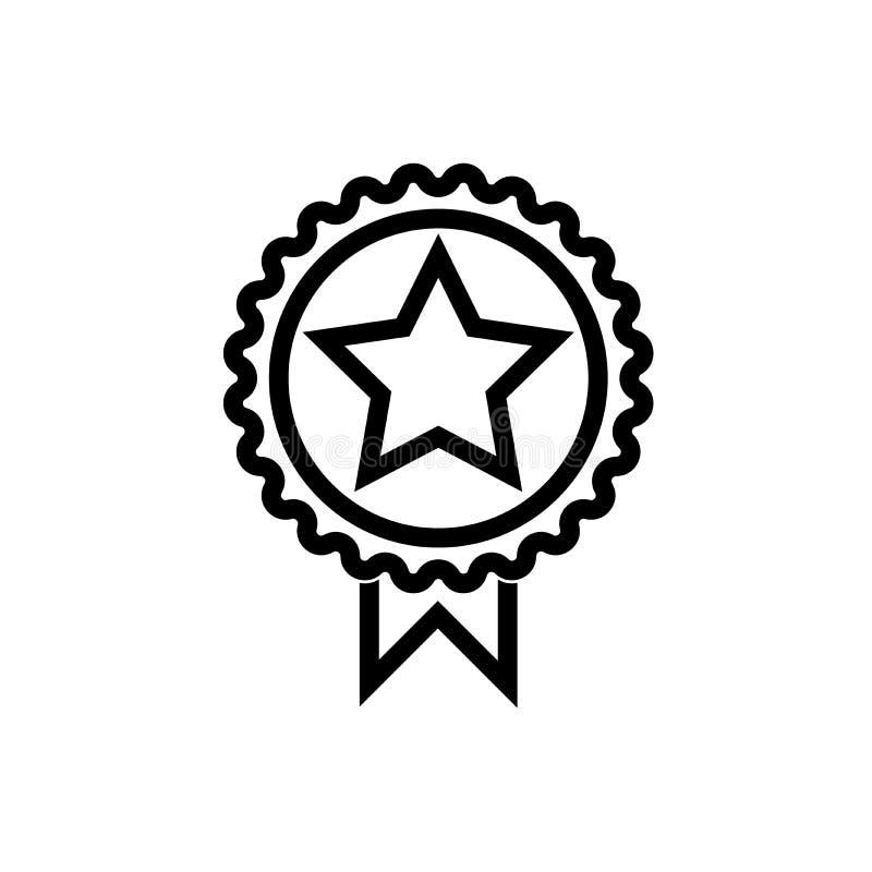 Línea negro de la medalla de la estrella del icono stock de ilustración