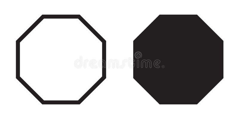Línea octagonal de la geometría del vector del icono del octágono stock de ilustración