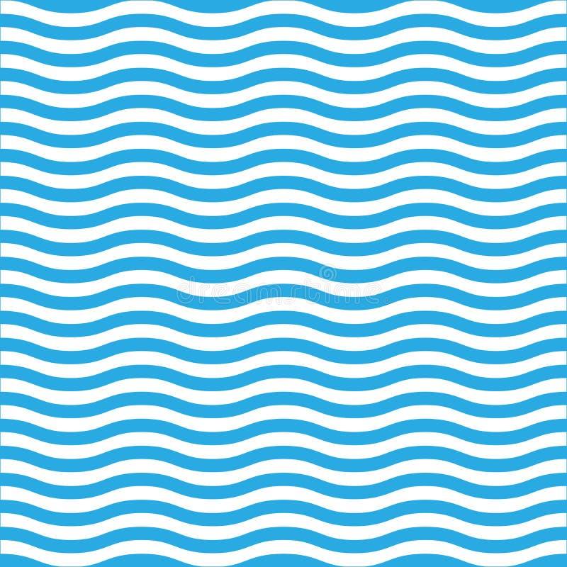 Línea ondulada modelo inconsútil en azul y blanco Fondo retro simple del vector del estilo de la marina de guerra libre illustration