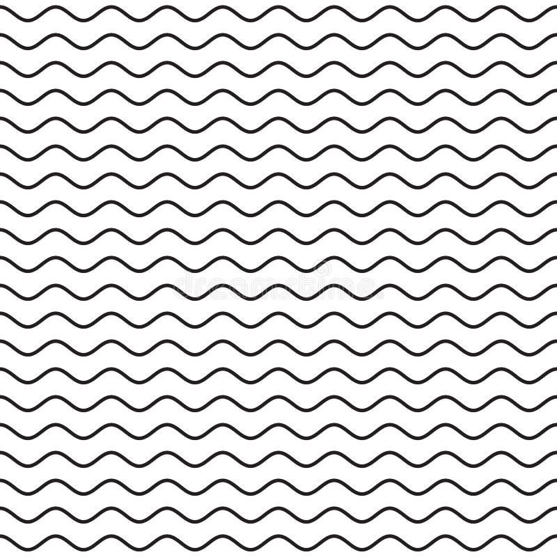 Línea ondulada negra modelo inconsútil stock de ilustración