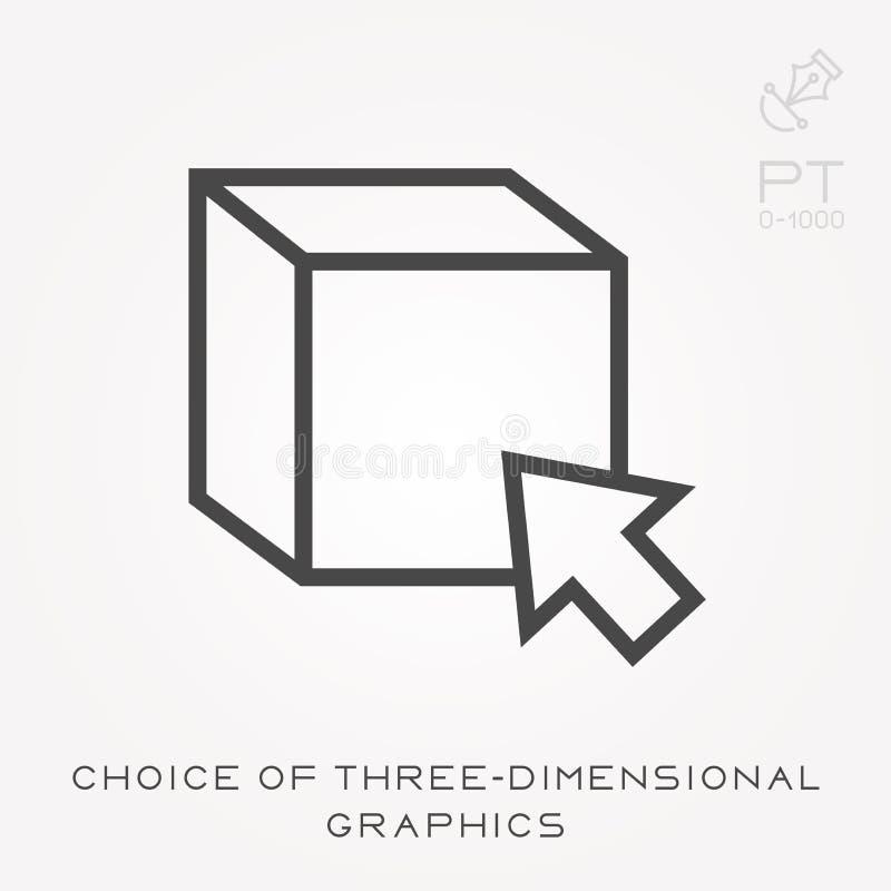 Línea opción del icono de gráficos tridimensionales libre illustration