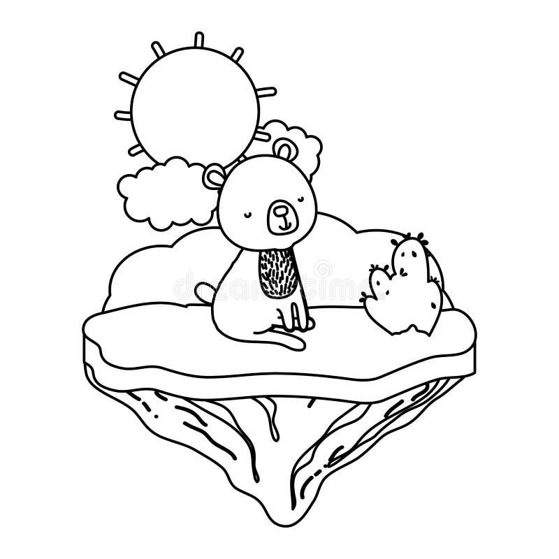 Línea oso agradable asentado en la isla del flotador ilustración del vector