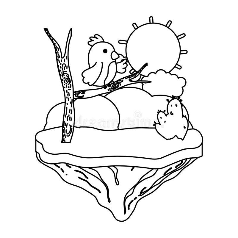 Línea oso agradable con la rama en la isla del flotador libre illustration
