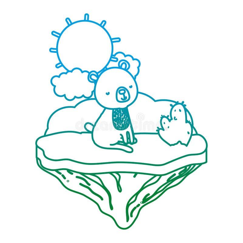 Línea oso agradable de Degarded asentado en la isla del flotador libre illustration