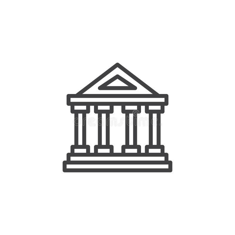 Línea pública icono del museo stock de ilustración