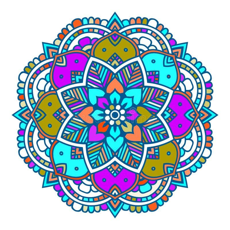 Línea púrpura mandala india floral ilustración del vector