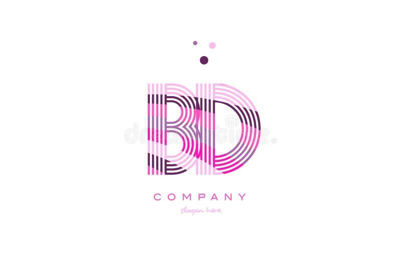 línea púrpura vecto del rosa del logotipo de la letra del alfabeto de BD b d de la plantilla del icono libre illustration