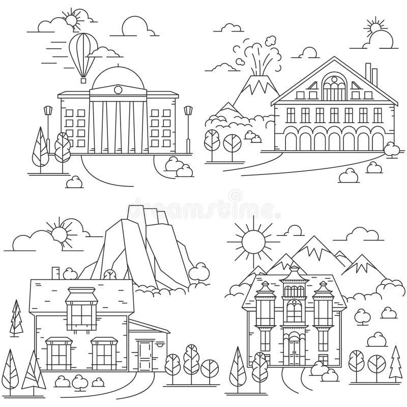 Línea paisajes de la casa del icono stock de ilustración