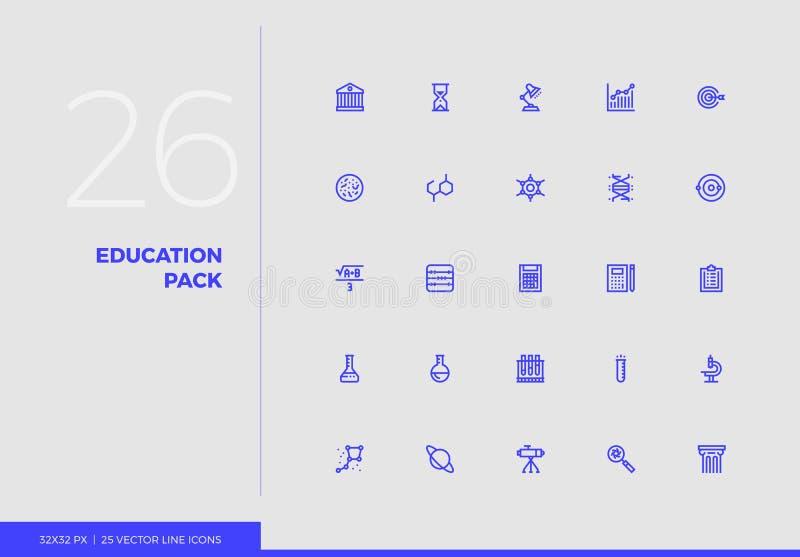 Línea paquete del vector de la educación de los iconos ilustración del vector