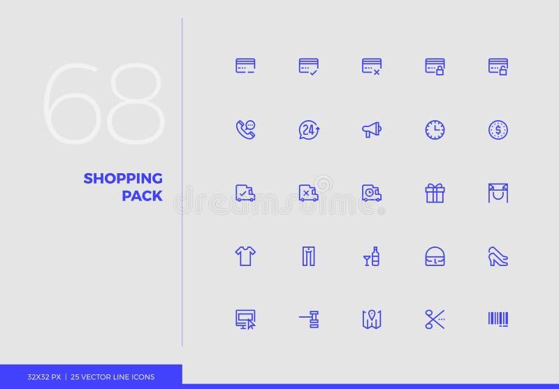 Línea paquete del vector de las compras de los iconos stock de ilustración