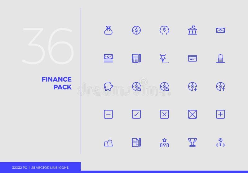 Línea paquete del vector de las finanzas de los iconos ilustración del vector