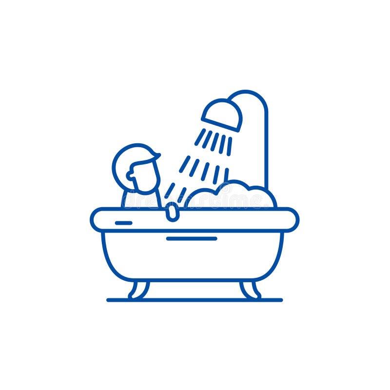 Línea para hombre concepto del cuarto de baño del icono Símbolo plano del vector del cuarto de baño para hombre, muestra, ejemplo libre illustration