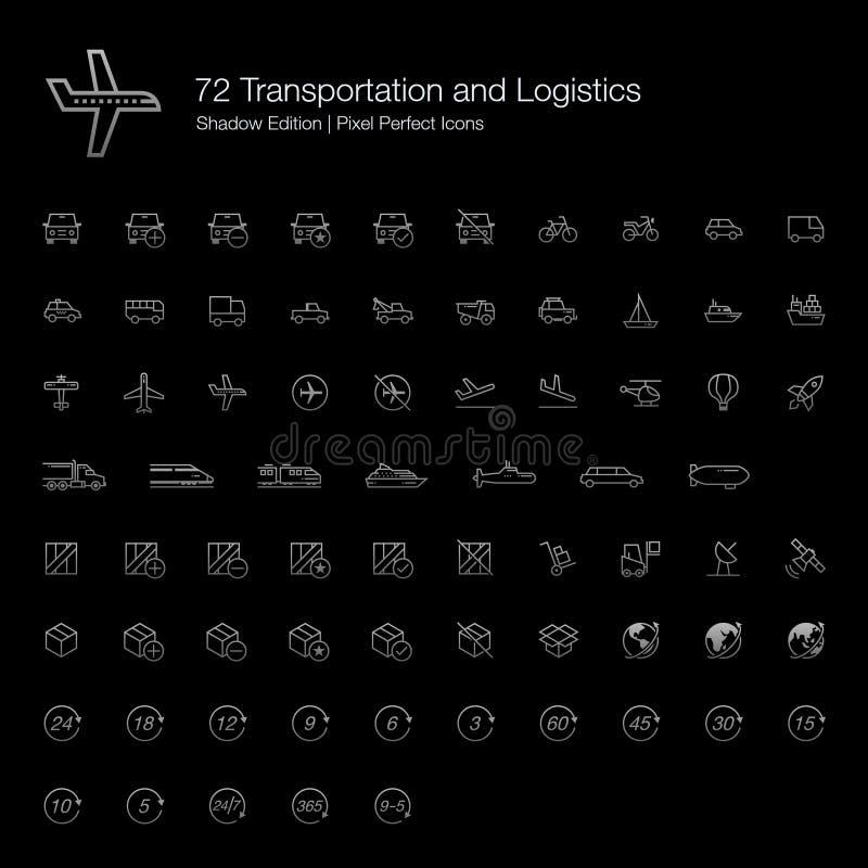 L?nea perfecta iconos del transporte y del pixel de la log?stica para el fondo negro ilustración del vector