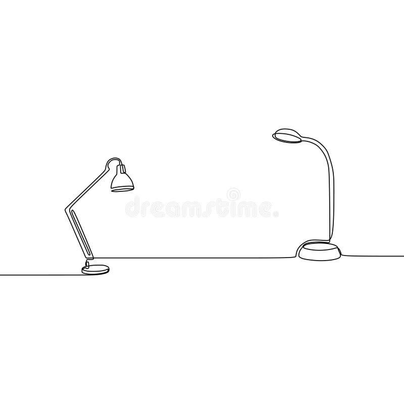 línea permanente sistema de la lámpara y de la lámpara de estudiante una del esquema de los iconos de la lámpara para el diseño w stock de ilustración