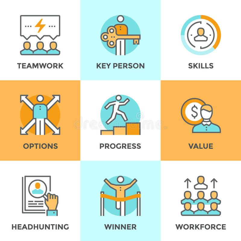Línea personal iconos del progreso fijados ilustración del vector