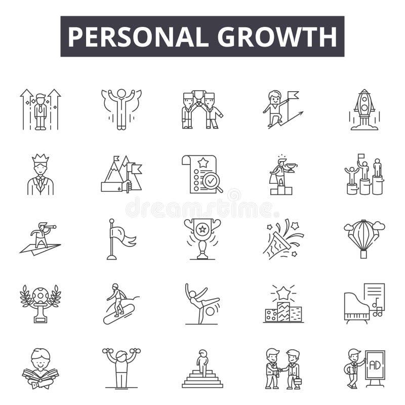 Línea personal iconos, muestras, sistema del vector, concepto del crecimiento del ejemplo del esquema stock de ilustración