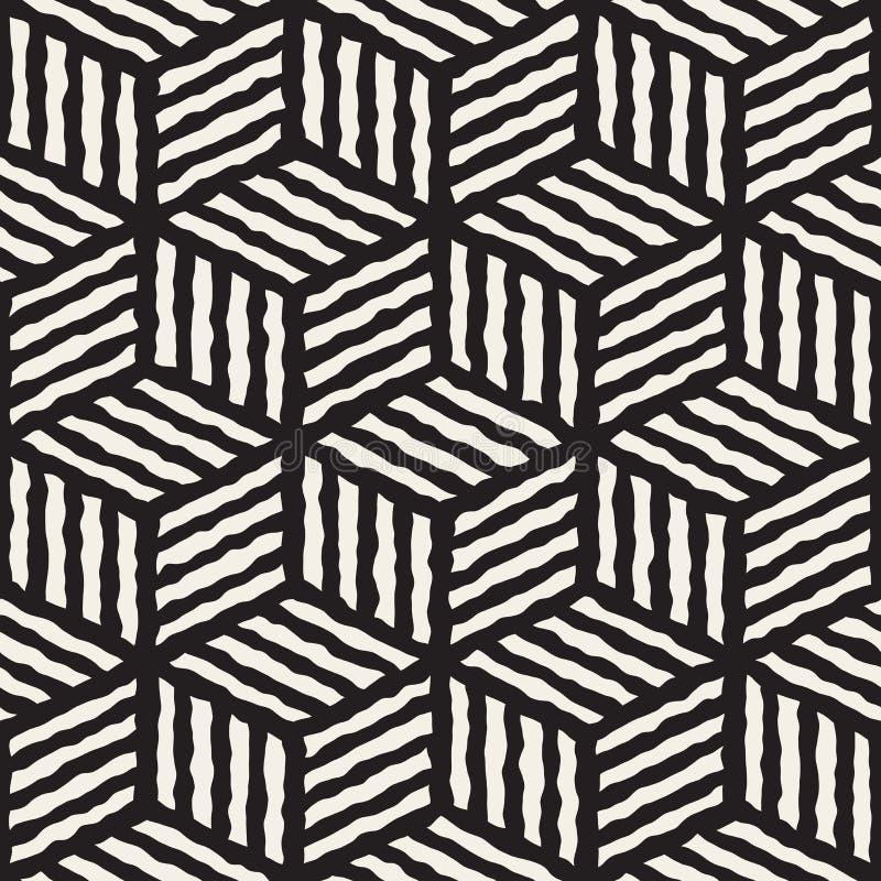 Línea pintada a mano blanco y negro inconsútil modelo geométrico del vector del cubo de las rayas ilustración del vector