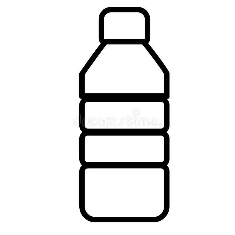 Línea plástica muestra de la botella icono plástico de la botella en el backgroun blanco libre illustration