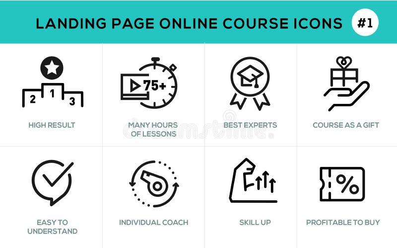 Línea plana aprendizaje electrónico en línea de los iconos del concepto de diseño libre illustration