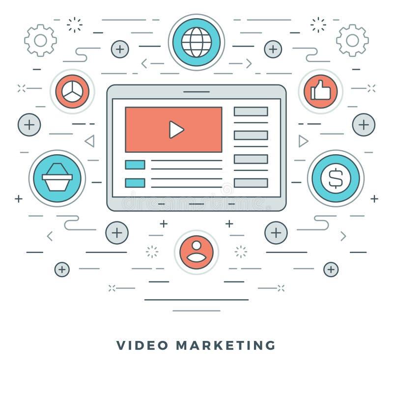 Línea plana aprendizaje electrónico o márketing del vídeo Ilustración del vector stock de ilustración