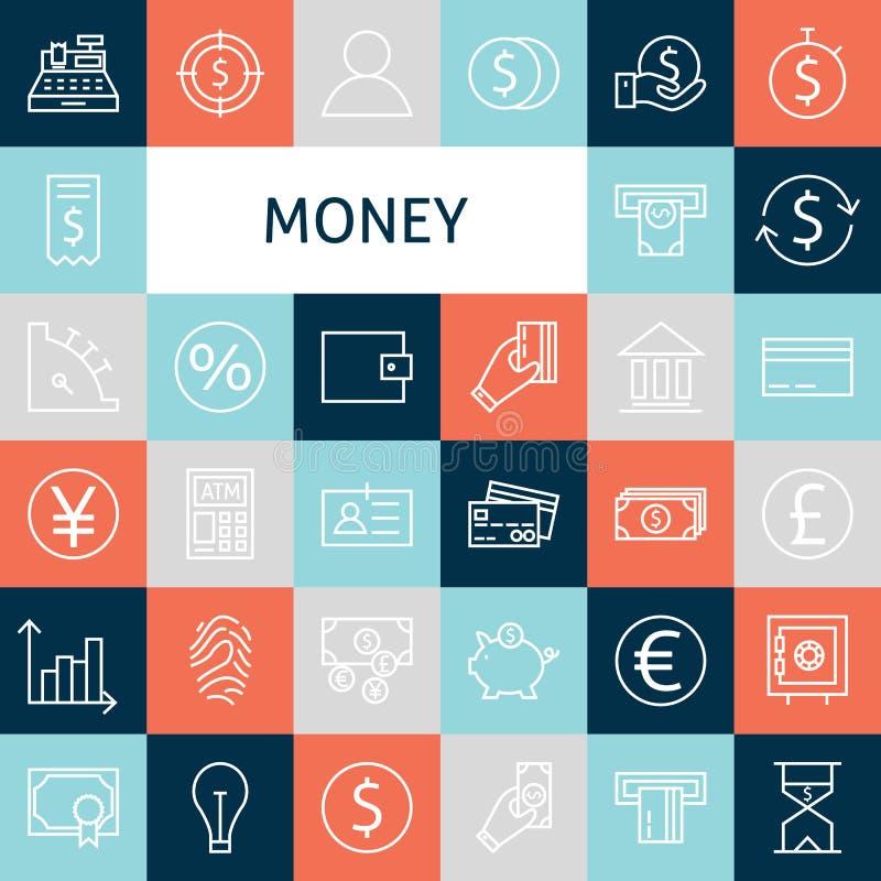 Línea plana Art Modern Money del vector e iconos de las finanzas fijados libre illustration