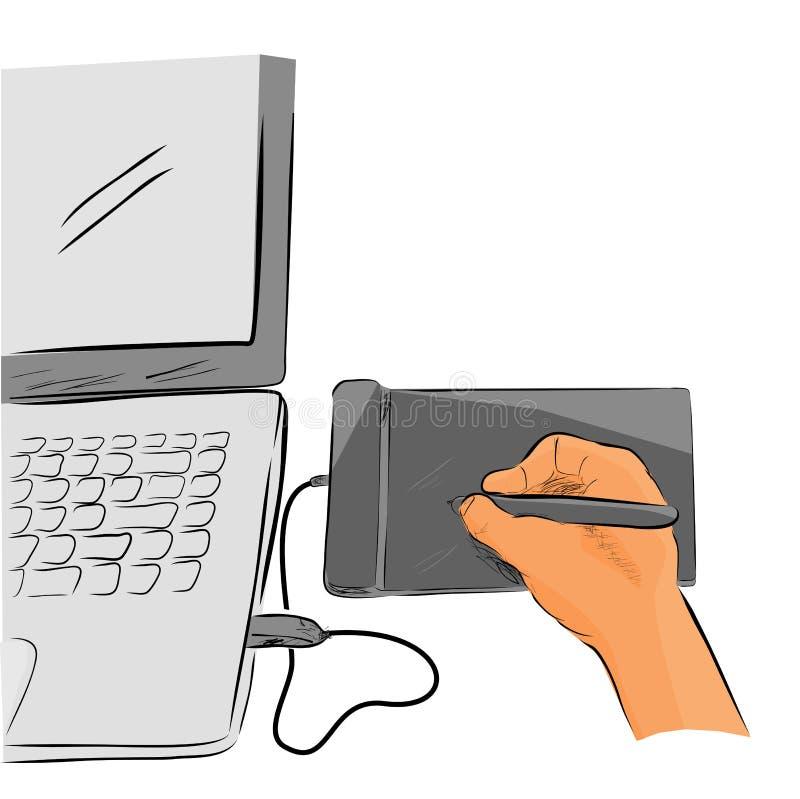 Línea plana arte del bosquejo del color de artista Illustrator Creating Something que usa Pen Tab o la tableta gráfica libre illustration