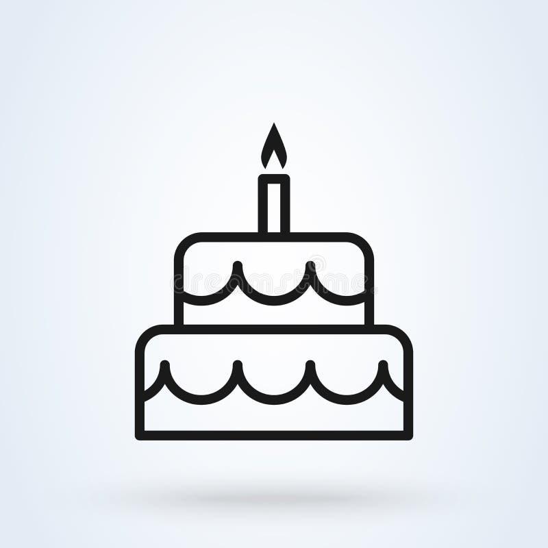Línea plana arte del estilo de la torta de cumpleaños Icono aislado en el fondo blanco Ilustraci?n del vector libre illustration