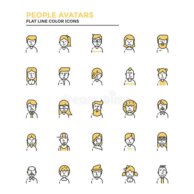Línea plana avatares de la gente de los iconos stock de ilustración