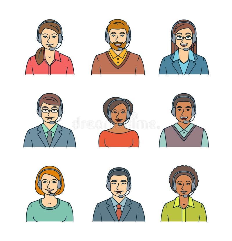 Línea plana avatares de los agentes del centro de atención telefónica ilustración del vector