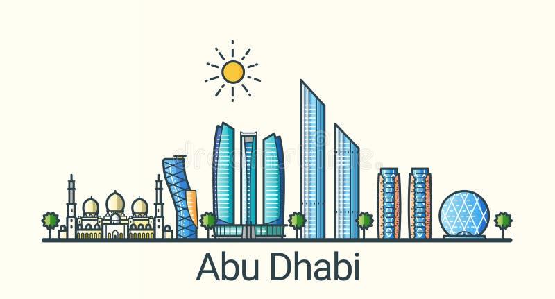Línea plana bandera de Abu Dhabi stock de ilustración