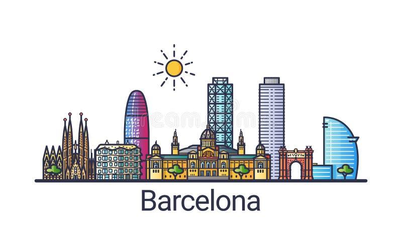 Línea plana bandera de Barcelona stock de ilustración