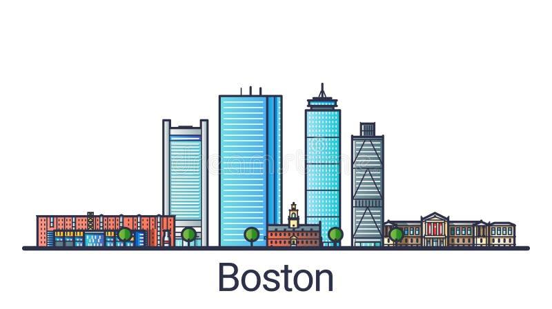 Línea plana bandera de Boston ilustración del vector