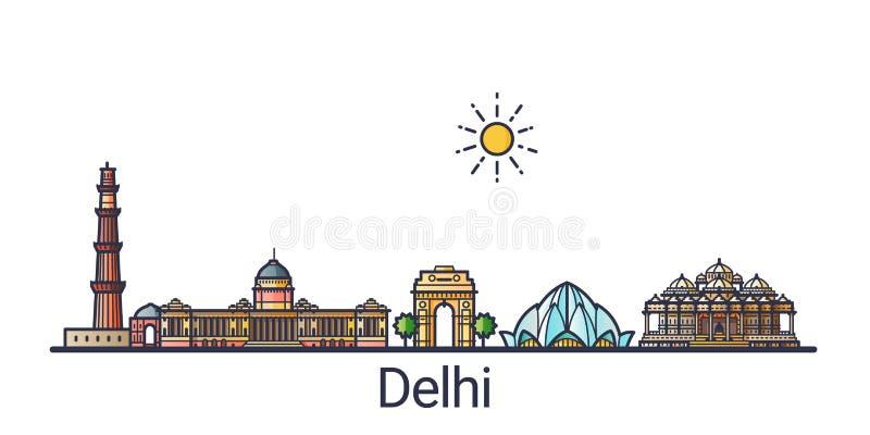 Línea plana bandera de Delhi stock de ilustración